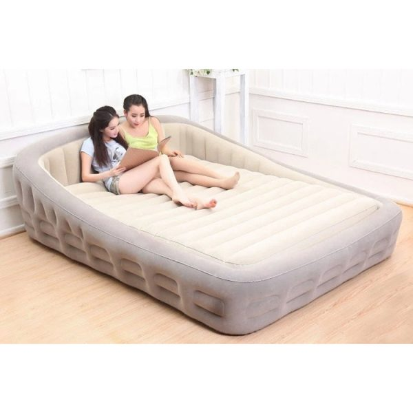 inflatable air bed with headboard