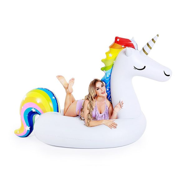 inflatable rainbow unicorn pool float
